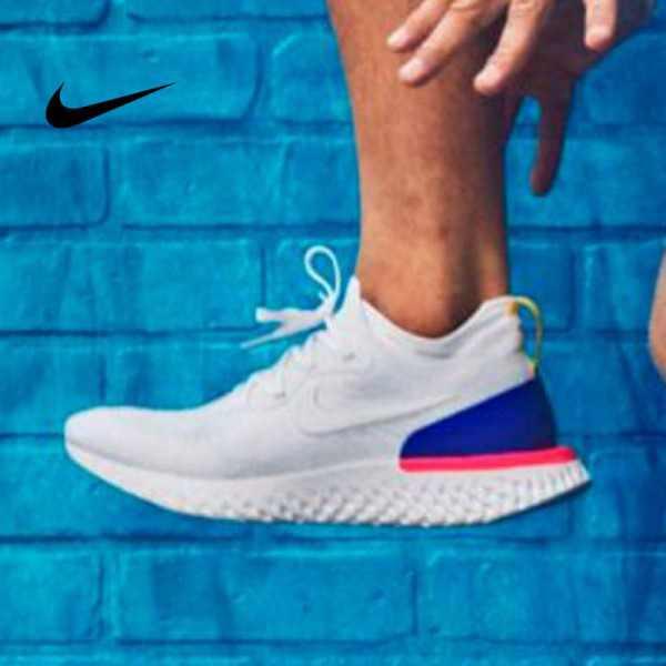 Nike Epic React Flyknit 泡棉顆粒針織超輕量慢跑鞋 白藍粉黃 情侶款 休閒百搭 AQ0067-101