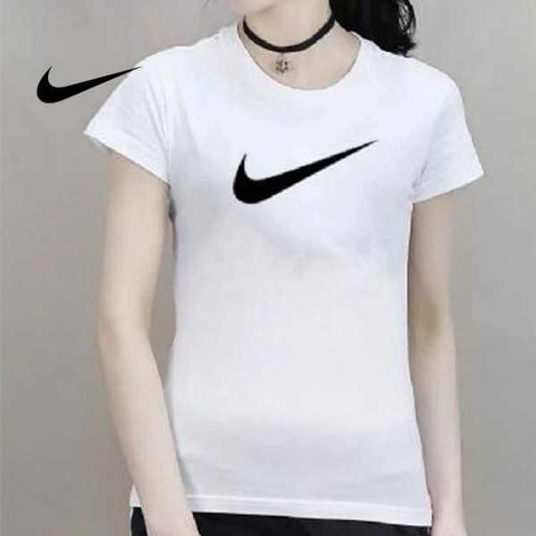 NIKE 夏季新款 基礎 純棉T恤 女生 白色 黑勾 時尚百搭