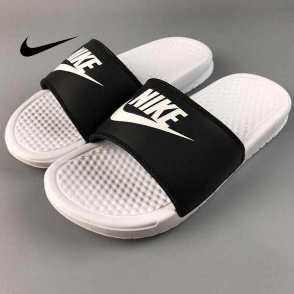 Nike Benassi Swoosh  黑白 白勾 防水 防滑 情侶款 時尚 百搭