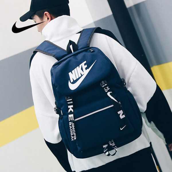Nike 大logo 新款 雙肩包 情侶款 學生 書包 藍色 時尚 百搭 NK-61183