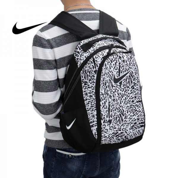 NIKE 情侶款 塗鴉款 雙肩包 帆布 後背包 黑白 書包 時尚百搭 厚18*寬35*高48