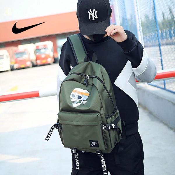 骷髏頭新款 Nike 雙肩包 後背包 時尚 街頭風 運動包 流蘇 綠色
