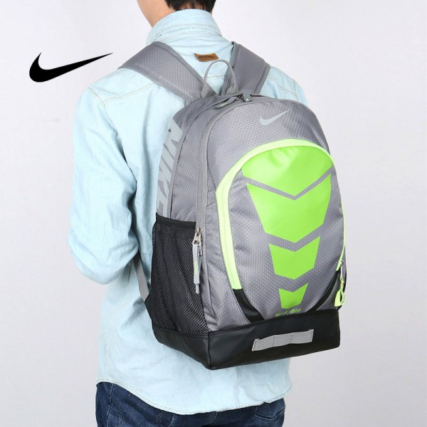Nike Max Air 雙肩包 學生書包 帆布電腦後背包 旅行包 灰綠色