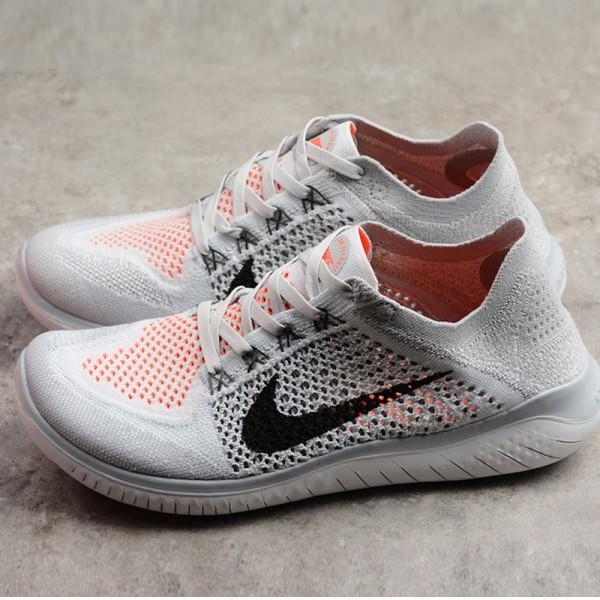 Nike Free rn Flyknit 2018款 男子 赤足 灰橙色 透氣 跑步鞋-現貨預購❤️