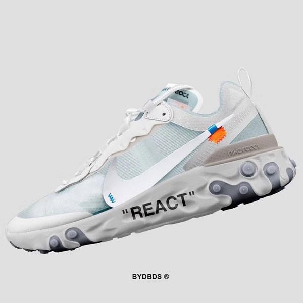 Off White x Nike Upcoming React Element 87 情侶款 白色 慢跑鞋-秒殺款❤️