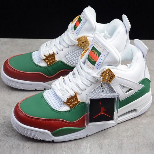 Air Jordan 4 RETRO Gucci 聯名限定款 白綠紅 休閒籃球鞋 男款-超熱賣❤️