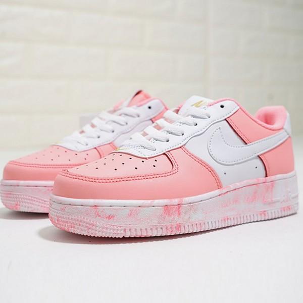 Nike Air Force 1 Low 經典 百搭 休閒板鞋 厚底增高 粉白色-熱銷NO1❤️
