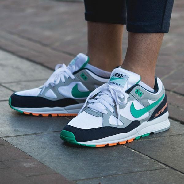 Nike air span 2 男子 跑步鞋 黑白灰 綠鉤 透氣 舒適 時尚-熱銷推薦❤️