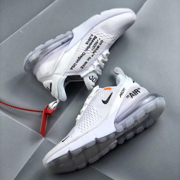 OFF White x Nike Air Max 270 聯名 情侶款 白色 半掌氣墊慢跑鞋-現貨限量❤️