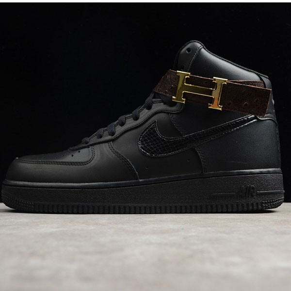 Nike Air Force 愛馬仕聯名款 男款 全黑色 高筒 休閒板鞋-熱銷推薦❤️