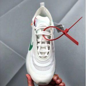 9fafbac1d6e05c09 300x300 - Off-White x Nike Air Max 97 子彈頭 全掌氣墊慢跑鞋 白綠色 男款-秒殺款❤️