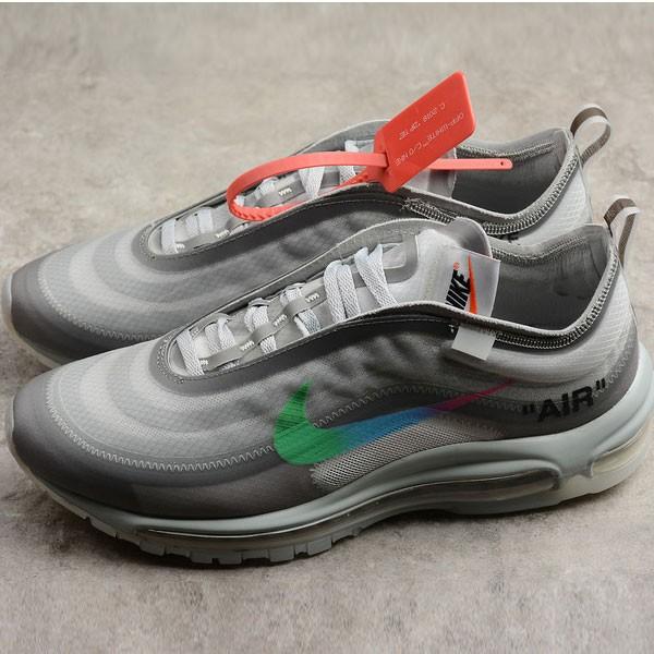 Off White ow x Nike Air Max 97 子彈 慢跑鞋 情侶款 灰色 新款-超值人氣❤️