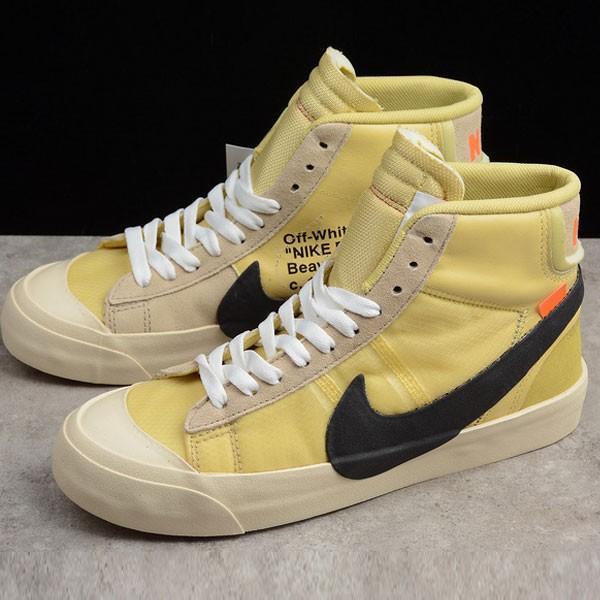 Off white ow x Nike blazer mid 聯名款 開拓者 高筒 情侶款 黃色-超熱賣❤️