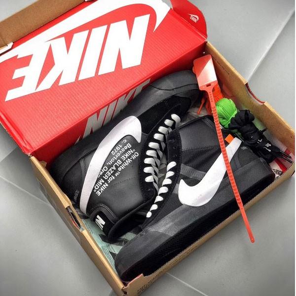 Off White X Nike Blazer mid ow聯名開拓者 情侶款 高筒 黑色-現貨限量❤️