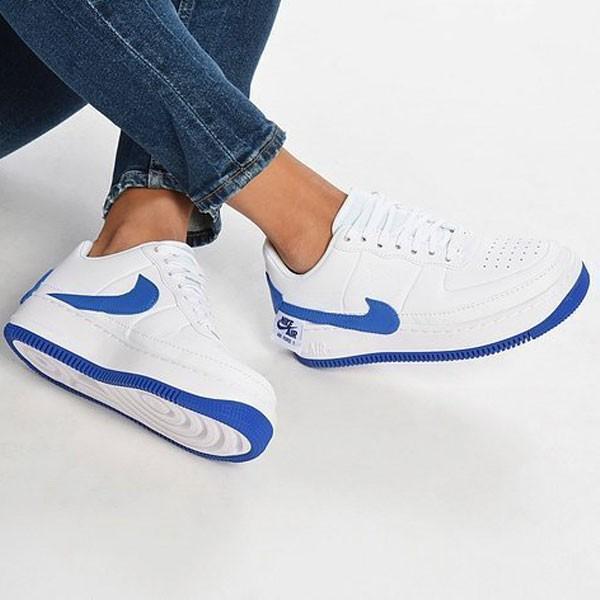 Nike Wmns Air Force 輕量 厚底增高 低幫 百搭 板鞋 女生 白藍色-熱銷NO1❤️