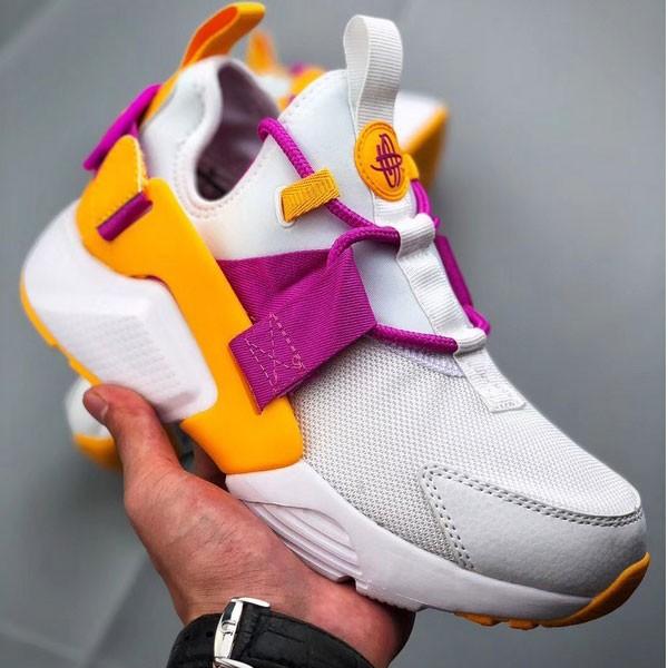 Nike Air Huarache華萊士 網面 跑步鞋 女款 白紫黃 休閒-現貨限量❤️