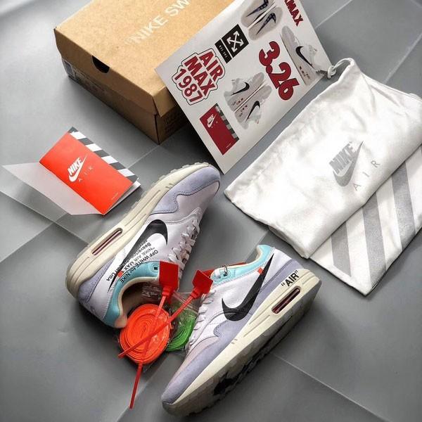 Off white X Nike Air Max 1 聯名定制 男款 灰色 氣墊慢跑鞋 潮流-超級人氣❤️