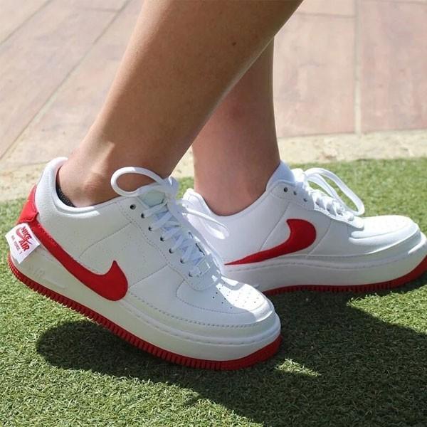 Nike Wmns Air Force 輕量 厚底增高 低幫 百搭 板鞋 女生 白紅色-熱銷NO1❤️