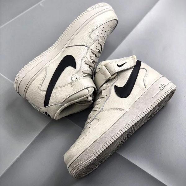 Nike Air Force 1 Mid 中幫 頭層 荔枝紋 牛皮 水泥灰 休閒板鞋-熱銷推薦❤️