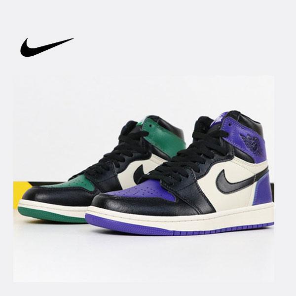 Air Jordan 1 Pine Green X Court Purple 黑綠紫腳趾陰陽 情侶款 高筒 熱銷款