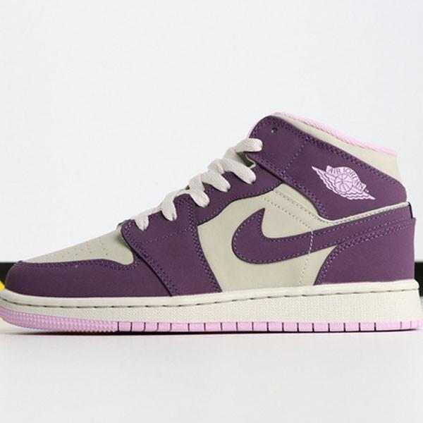 Air Jordan 1 MID 555112-500 喬1中幫灰粉紫葡萄女款