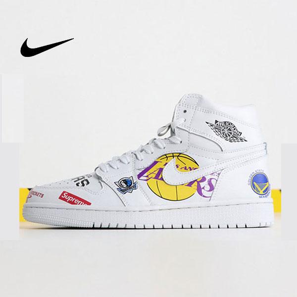 Air Jordan 1 喬丹1代三方聯名NBA白塗鴉 高筒 休閒運動鞋 白色 熱銷推薦❤️