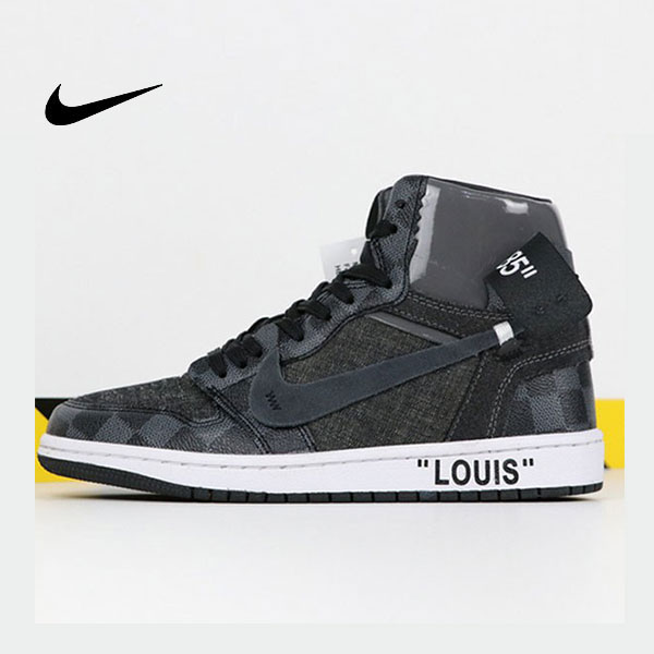 LV x off white x Air Jordan 1 喬丹1代三方聯名款 黑灰色 情侶款 新品駕到❤️