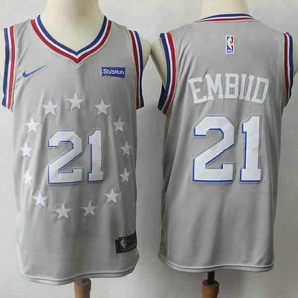 Nike NBA球衣 76人 21號 灰色 城市版  S-XXL