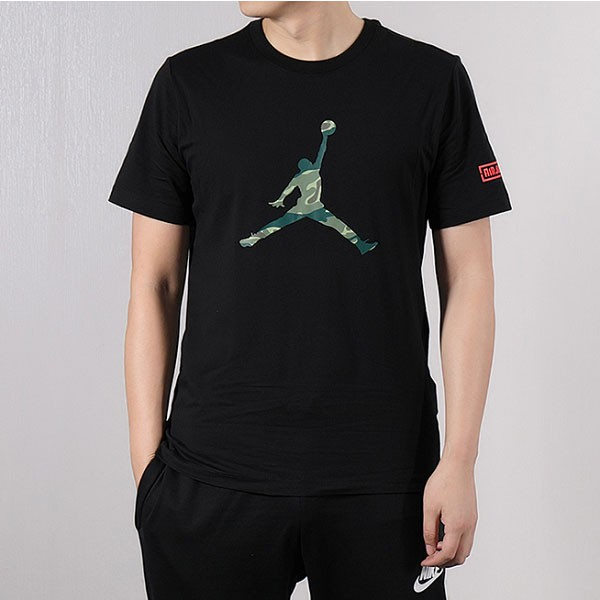 Nike 短袖男2019夏新款Air Jordan運動半袖AJ透氣T恤衫 黑綠