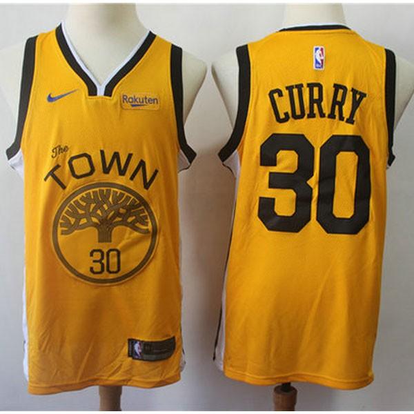 Nike NBA球衣 勇士30季後黃