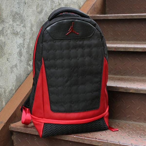 Nike Air Jordan 同款 純色AJ雙肩揹包 黑紅
