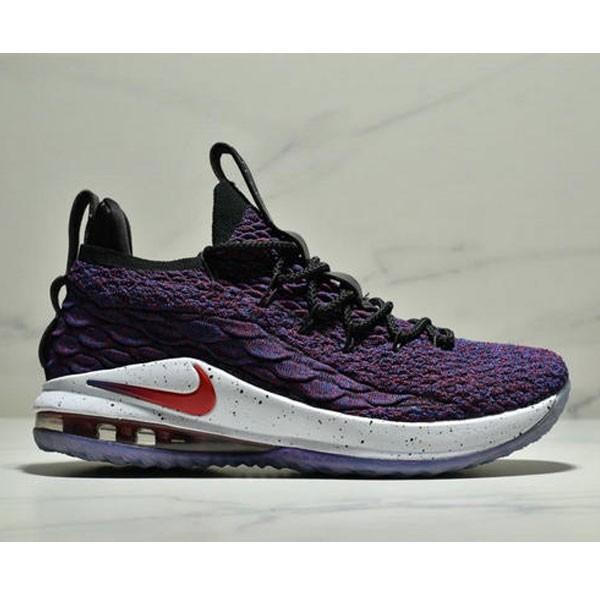 NIKE LEBRON XV LOW EP 詹姆斯15代 魚鱗片氣墊籃球鞋 男款 紫黑紅